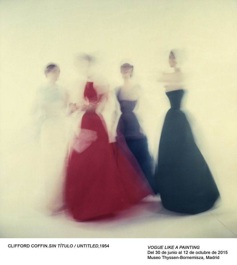 unpublished / killed, blurred ethereal shot of four models in party dresses, ball gowns, Clifford Coffin's last sitting for British Vogue