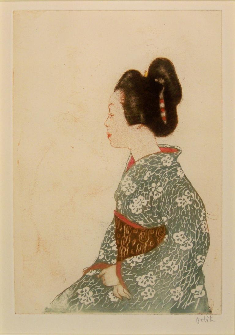 """Emil Orlik Die Courtisane Blatt 11 der Mappe """"Aus Japan"""" 1902 Farbradierung Edwin Scharff Museum,  Neu - Ulm Foto: Ronald Gerhardt"""