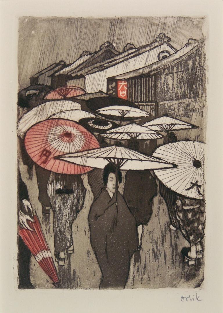 "Emil Orlik Regentag in Kyoto Blatt 8 der Mappe ""Aus Japan 1901 Farbradierung Edwin Scharff Museum, Neu - Ulm Foto: Ronald Gerhardt"