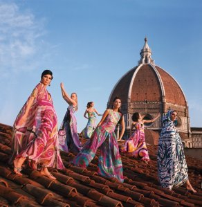Models on the roof of Palazzo Pucci in Florence, wearing evening dresses, palazzo pyjamas and terrycloth capes from the Spring/Summer 1967 Collection, (c) Emilio Pucci Archive, Florence