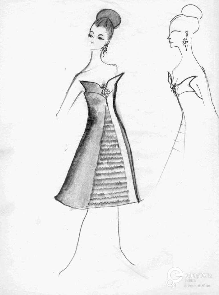 Creator: Emilio Pucci (1961/1962) Schizzo: abito bustier con coppe a punta, motivo a punta, gonna svasata, lunghezza al ginocchio. Decorazione gioiello sul petto. Dettaglio visuale laterale.