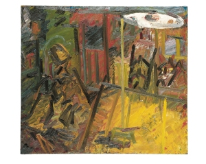 Frank Auerbach, Interior Vincent Terrace, 1982–84 oil on wood, 47 7⁄8 × 53 3 ⁄4 inches. Private Collection. Courtesy of Marlborough Fine Art, London
