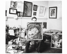 Frank in his studio with portraits of Leon Kossoff 1954- Courtesy of Marlborough Fine Art, London