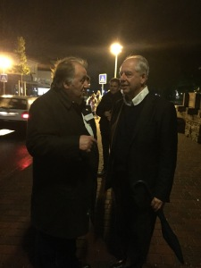 Curator Peter Weibel and famous artist William Kentridge during our tour of the biennial.