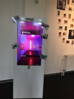 The selfie box which shows and prints your instagram photos.