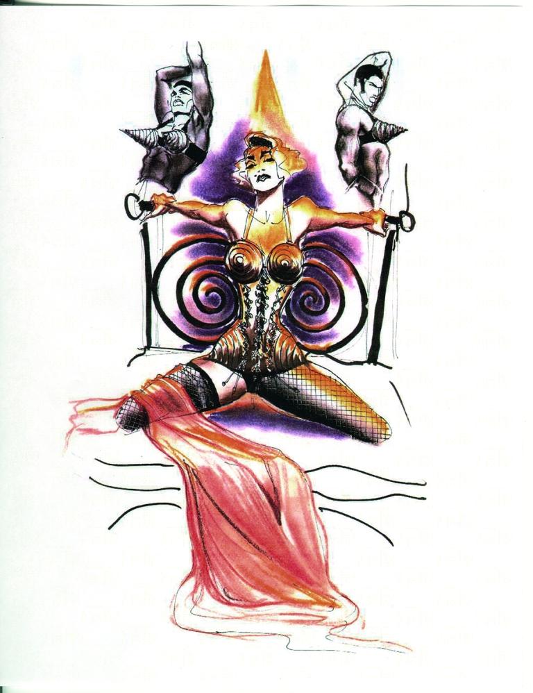 Thierry Perez für Jean Paul Gaultier Skizze des Bühnenkostüms für Madonna, Blond Ambition World Tour, Showabschnitt Like A Virgin, 1989–1990 Vintage-Lamé-Korsett. © Jean Paul Gaultier