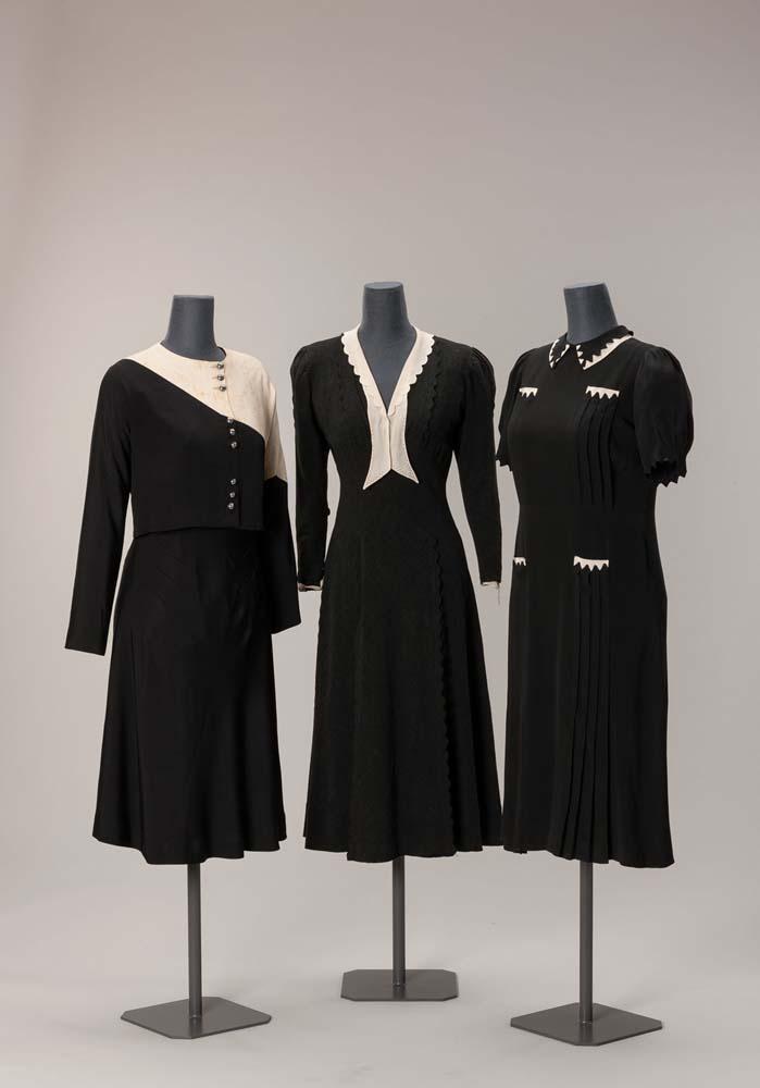 Damenkleider 1930er-Jahre Seidenkrepp, Wollkrepp © Münchner Stadtmuseum