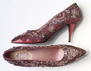 Evening shoe, beaded silk and leather, France, 1958-60, Roger Vivier (1907–98) for Christian Dior (1905–1957) © Victoria and Albert Museum, London