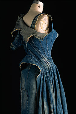 Junya Watanabe, dress, repurposed denim, spring 2002, Japan, museum purchase, 2010.37.12. Photograph by William Palmer
