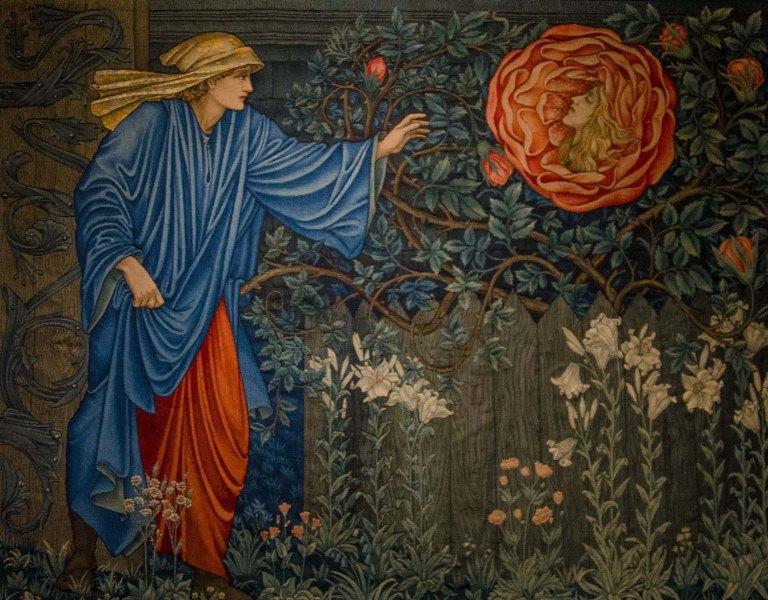 Edwars Burne-Jones, William Morris, Tapisserie - Der Pilger im Garten oder Das Herz der Rose, 1901, Badisches Landesmuseum Karlsruhe