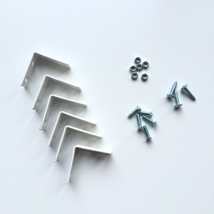 metal angle connectors, screws, nuts and bolts