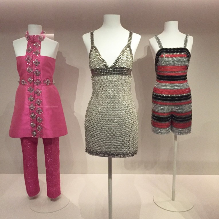"""From left to right: Summer Pantsuit by Giovanna Ferragamo, Italy 1970; Micro Dress """"Ready Made"""" by Paco Rabanne, Summer 1970; Hotpants by Paco Rabanne, Summer 1974"""