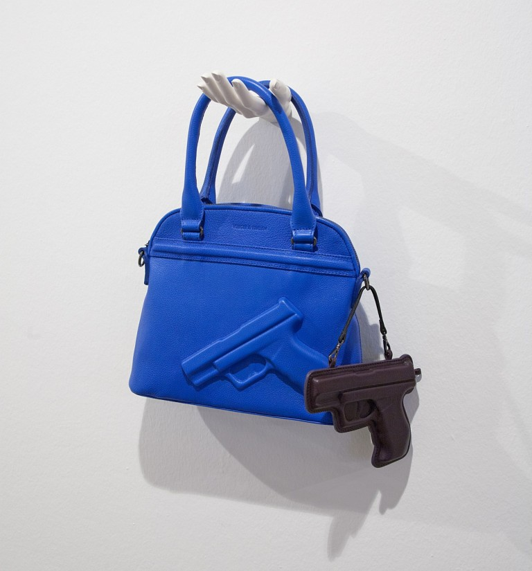 Exhibition view: Vlieger & Vandam, Guardian Angel, 2002 and Charm Gun, 2010, leather Photo: Hans Schröder/ Marta Herford