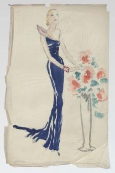 Ernst Deutsch-Dryden, Skizze eines Abendkleides, Hollywood, um 1936 Zeichnung © MAK