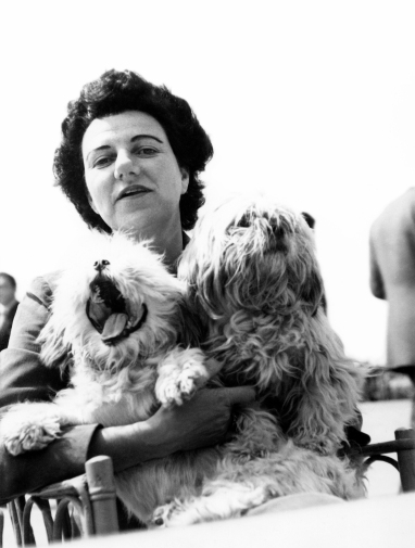 Peggy Guggenheim with two of her beloved dogs. © Roloff Beny / Courtesy of National Archives of Canada