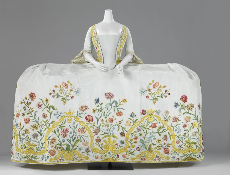 Helena Slicher's (1737-1776) wedding gown or mantua, which she supposedly wore at her marriage to Aelbrecht baron van Slingelandt (1732-1801) on 4 September 1759
