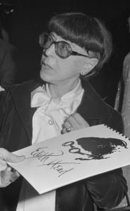Edith Head at opening night of a retrospective of her work from 1923 to present (1976) at Museum of Science and Industry. Photo: Los Angeles Times, February 24, 1976