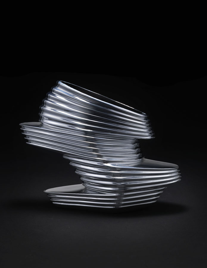 "Zaha Hadid X United Nude. ""NOVA,"" 2013. Chromed vinyl rubber, kid napa leather, fiberglass. Courtesy of United Nude. Photo: Jay Zukerkorn."