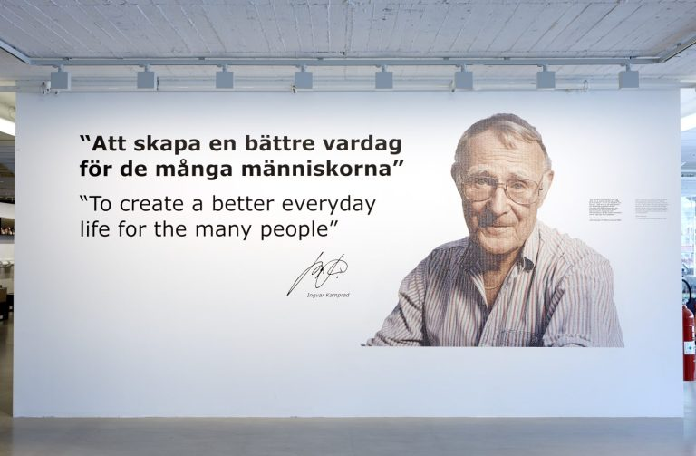 In the entrance the visitors are welcomed by a portrait of Ingvar Kamprad together with the IKEA vision: To create a better everyday life for the many people. The portrait is built up of a mosaic of smaller portraits of IKEA co-workers. © Inter IKEA Systems B.V. 2016