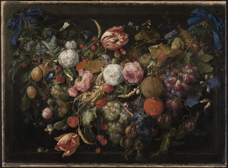 Jan Davidsz. de Heem 1606 - 1684, Girlande von Blumen und Früchten, Inv. 361, Kunsthalle Karlsruhe