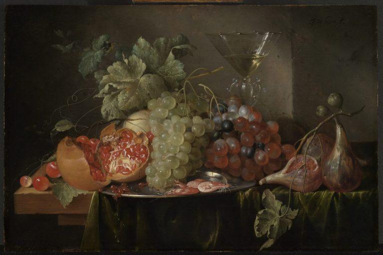 Jan Davidsz. de Heem 1606 - 1684, Fruchtstillleben mit gefülltem Weinglas, Inv. 362, Kunsthalle Karlsruhe