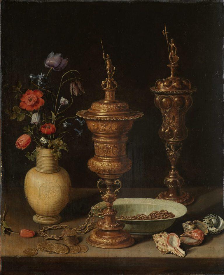 Clara Peeters 1589 ? - 1657 ?, Stillleben mit Blumen und Goldpokalen, Inv. 2222, Kunsthalle Karlsruhe