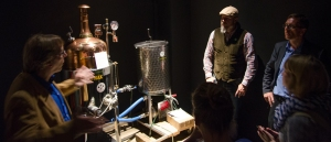 Curator Ralf Wiechmann and local Craft Brewer Oliver in front of a small brew system