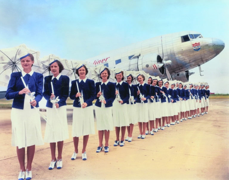 United Air Lines stewardesses 1939 Photo credit: United Airlines Archive