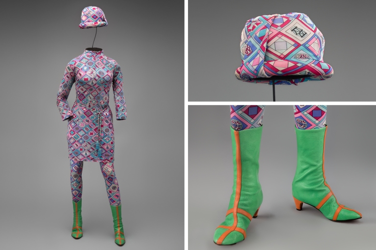 Braniff International Airways hostess uniform by Emilio Pucci 1966 Collection of SFO Museum Gift of Sandra C. A. Thomas in memory of Anne Karin Walker Photo credit: SFO Museum