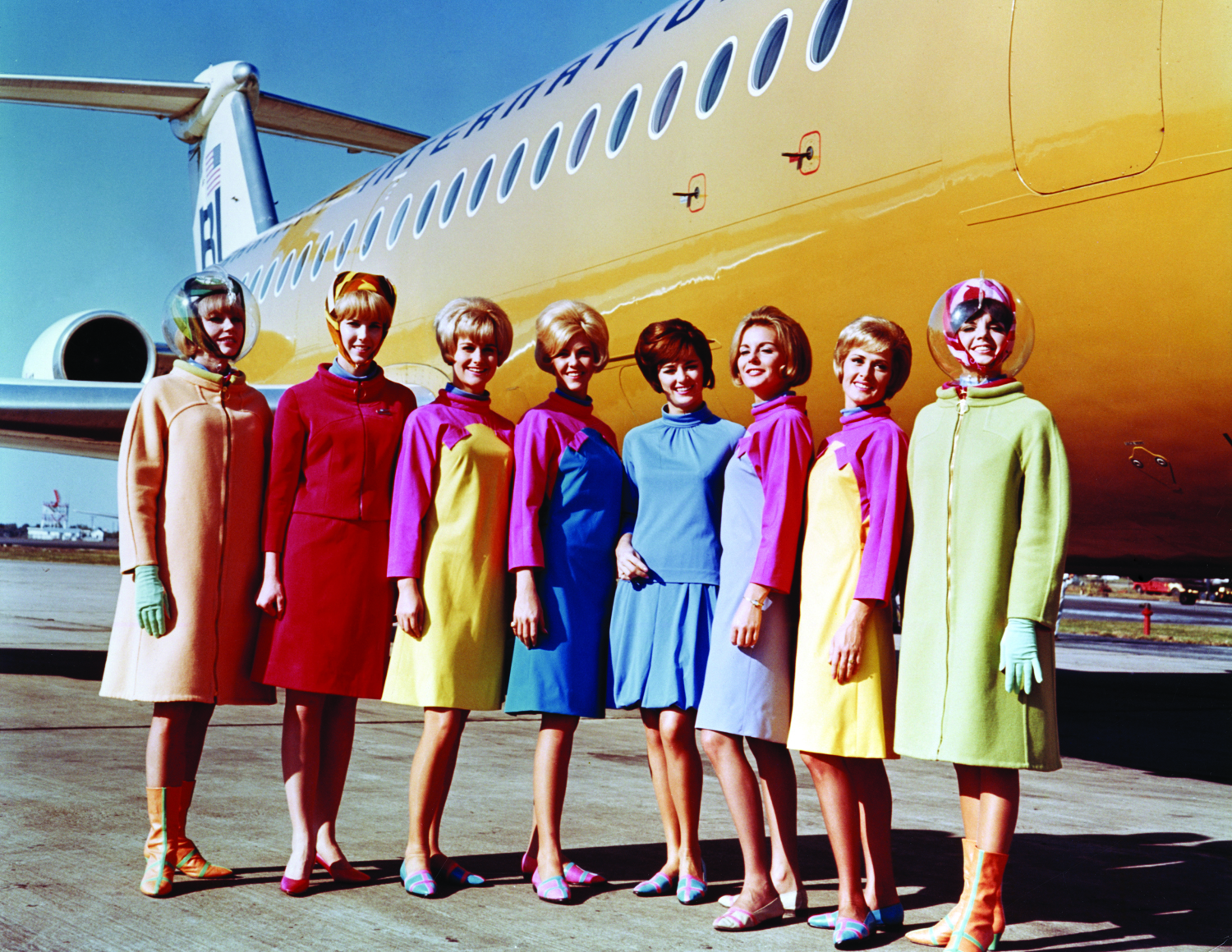 Braniff International Airways hostesses in uniforms by Emilio Pucci 1965 Photo credit: Braniff International Public Relations Archives, History of Aviation Collection, UTDallas