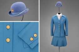 Pan American World Airways stewardess uniform by Frank Smith for Evan-Picone 1971 Collection of SFO Museum Gift of Thomas G. Dragges/Teresa Damgaard/Hildur Kirchdoerfer Photo credit: SFO Museum
