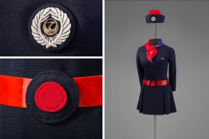 Japan Air Lines stewardess uniform by Hanae Mori 1970 Collection of SFO Museum Gift of Thomas G. Dragges