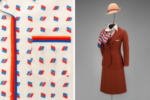 United Airlines female flight attendant uniform by Stan Herman 1976 Collection of SFO Museum Gift of Diane Willems Vaughan/United Airlines Historical Foundation Photo credit: SFO Museum