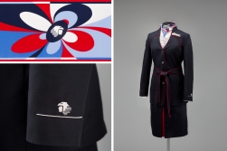 Aeroméxico female flight attendant uniform by Macario Jiménez 2008 D'nieto Collection of SFO Museum Anonymous gift Jacket insignia: Courtesy of Aeroméxico Scarf: Courtesy of Veronica Dawson Photo credit: SFO Museum
