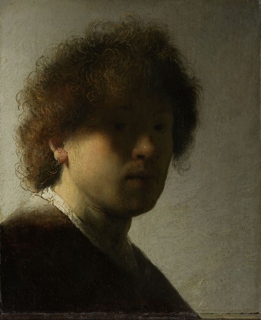 Self-portrait, Rembrandt Harmensz. van Rijn, c. 1628 oil on panel, h 22.6cm × w 18.7cm. Even as an inexperienced young artist, Rembrandt did not shy away from experimenting. Here the light glances along his right cheek, while the rest of his face is veiled in shadow. It takes a while to realize that the artist is gazing intently out at us. Using the butt end of his brush, Rembrandt made scratches in the still wet paint to accentuate the curls of his tousled hair.
