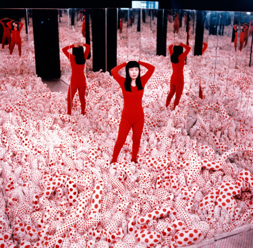 "Installation view of Kusama in Infinity Mirror Room - Phalli's Field, at her solo exhibition ""Floor Show"" at R. Castellane Gallery, New York, 1965 © Yayoi Kusama. Courtesy of Ota Fine Arts, Tokyo/Singapore, Victoria Miro Gallery, London, David Zwirner, New York"