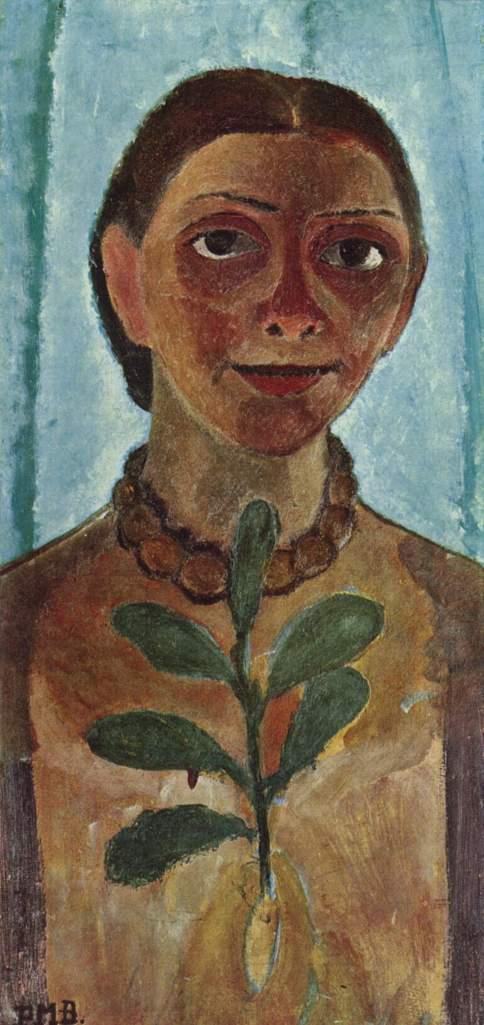 Die Malerin mit Kamelienzweig (Selbstporträt), 1907 (Holz, 62 x 31 cm) Paula Modersohn-Becker Museum Folkwang, Essen